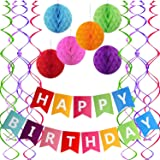 Famoby Colorful Happy Birthday Banner with Pom poms Confetti Streamer Garland Set