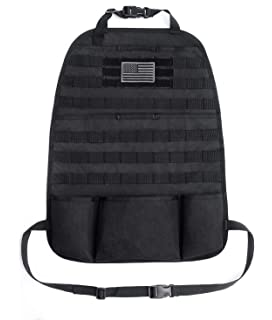 Black - 14 22 Tactical MOLLE Vehicle Panel Car Seat Cover Protector Universal Fit OneTigris Car Seat Back Organizer