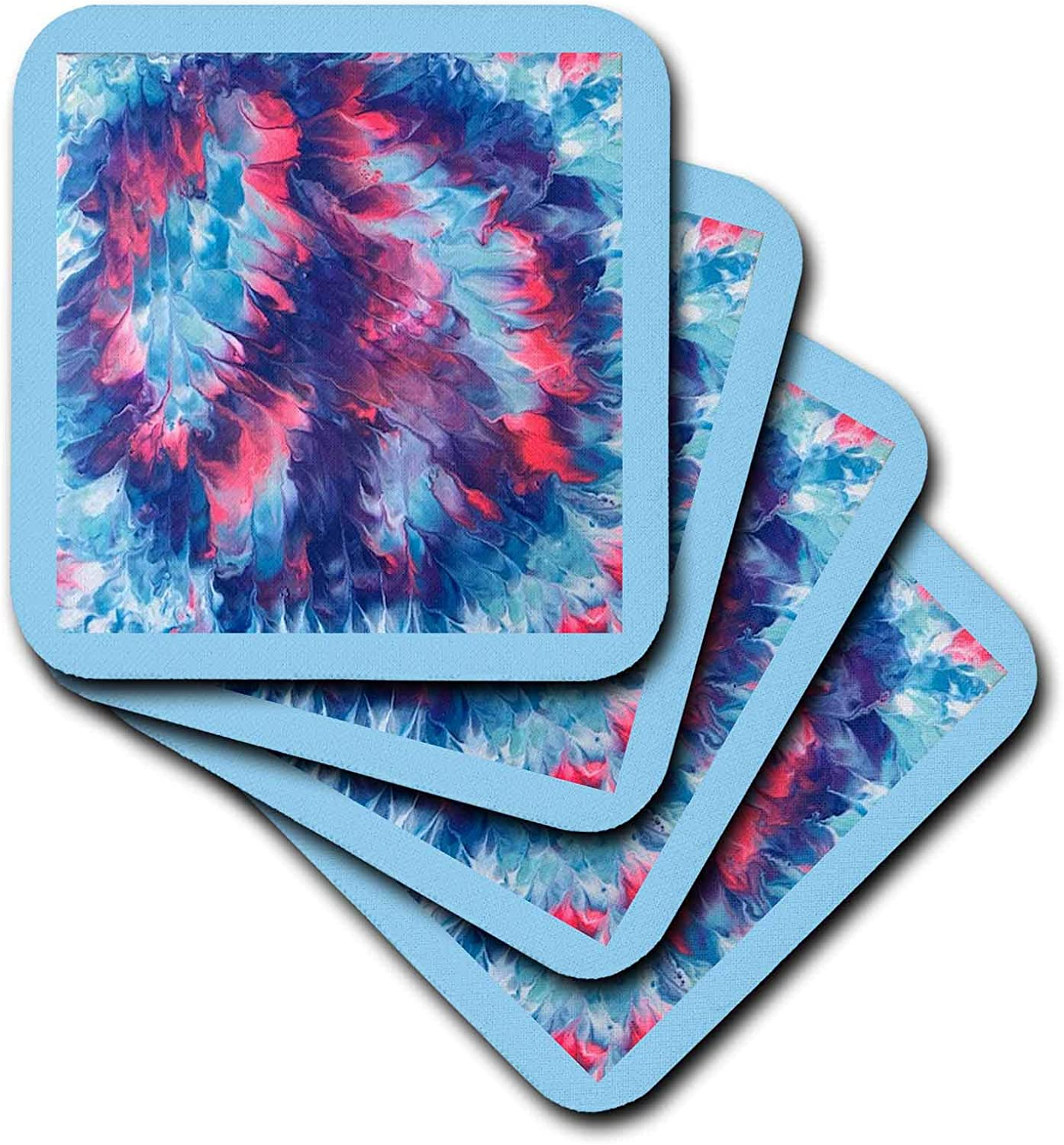 3dRose Abstract Painting of Pink Blue Purple Blends Peace Sign - Coasters (cst_334869_4)