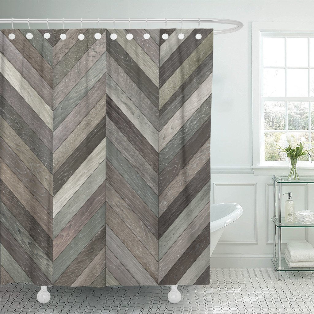 TOMPOP Shower Curtain Gray Herringbone Wood Parquet Chevron Neutral Floor Pattern Arrow Waterproof Polyester Fabric 72 x 78 Inches Set with Hooks