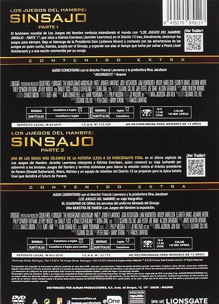 Pack Los Juegos Del Hambre Sinsajo 1 + 2 [DVD]: Amazon.es ...