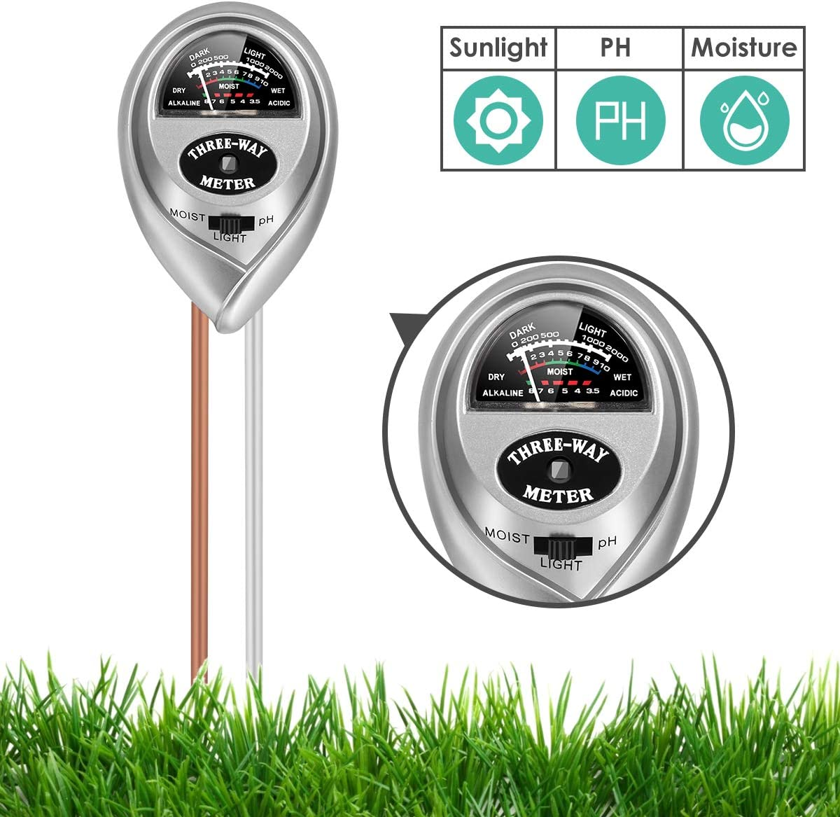 3-in-1 Soil Tester with Moisture Soil pH Meter Choose a Suitable Growing Environment for Plants Soil Test Kit Light and PH Test for Home//Garden//Farm//Lawn//Indoor /& Outdoor