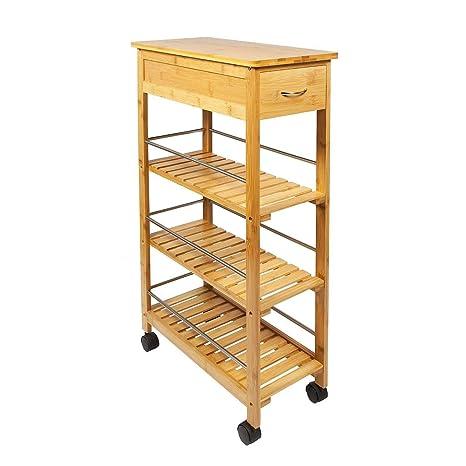 Generic - Estantería de Madera de bambú con 4 Niveles para 4 carritos de Cocina