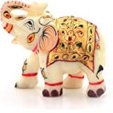 Little India Rajasthani Handmade Elephant Marble Handicraft (146, White)