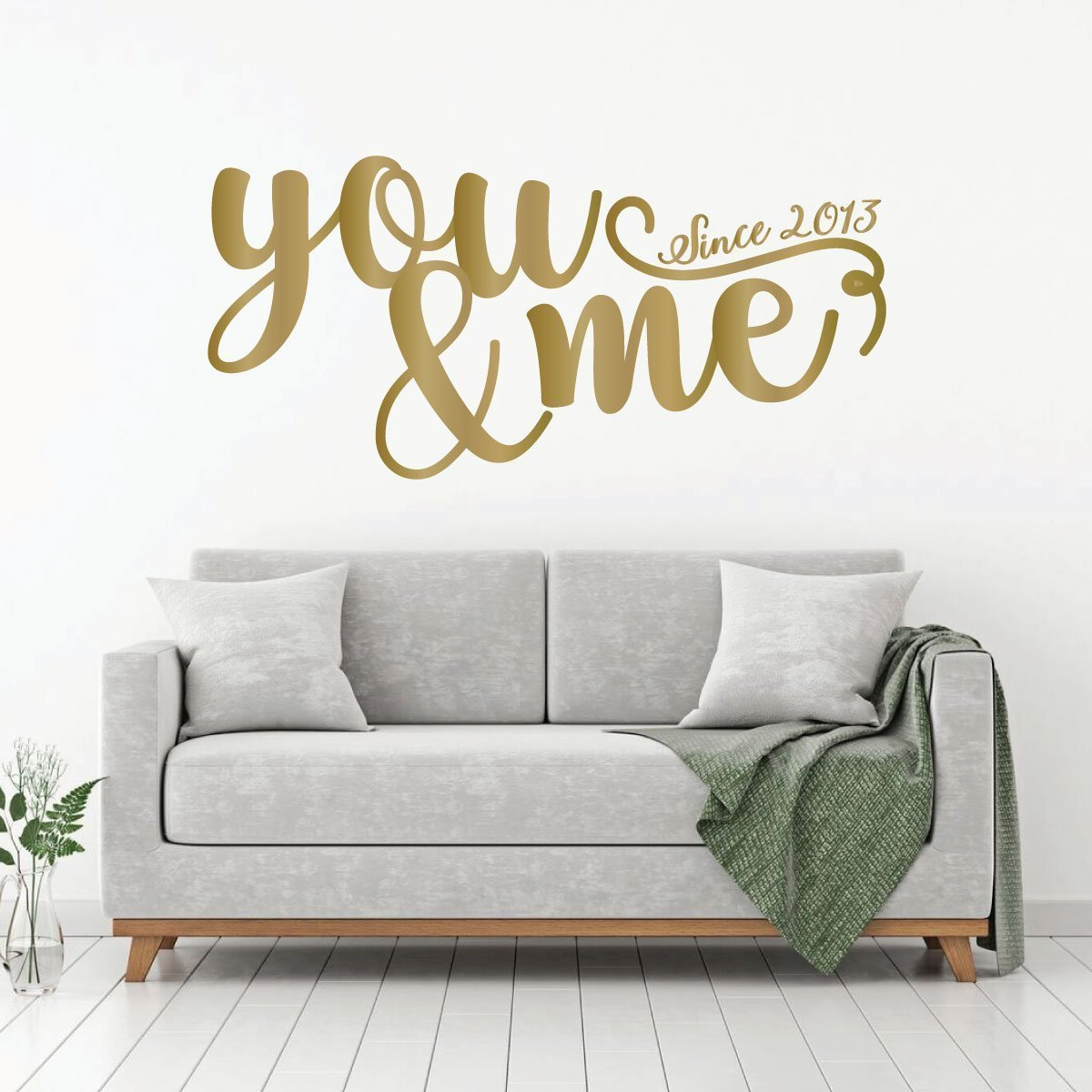 Quote Bedroom Couples Anniversary or Wedding Gift Decal -You And Me Since Kitchen Vinyl Decor for Living Room