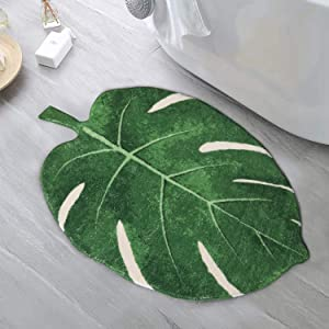 HAOCOO Area Rugs 2'x3' Leaves Velveteen Bath Mat Non-Slip Soft Bathroom Rugs Luxury Microfiber Bath Rug Machine Washable Door Carpet for Doormats Tub Shower Christmas Decor