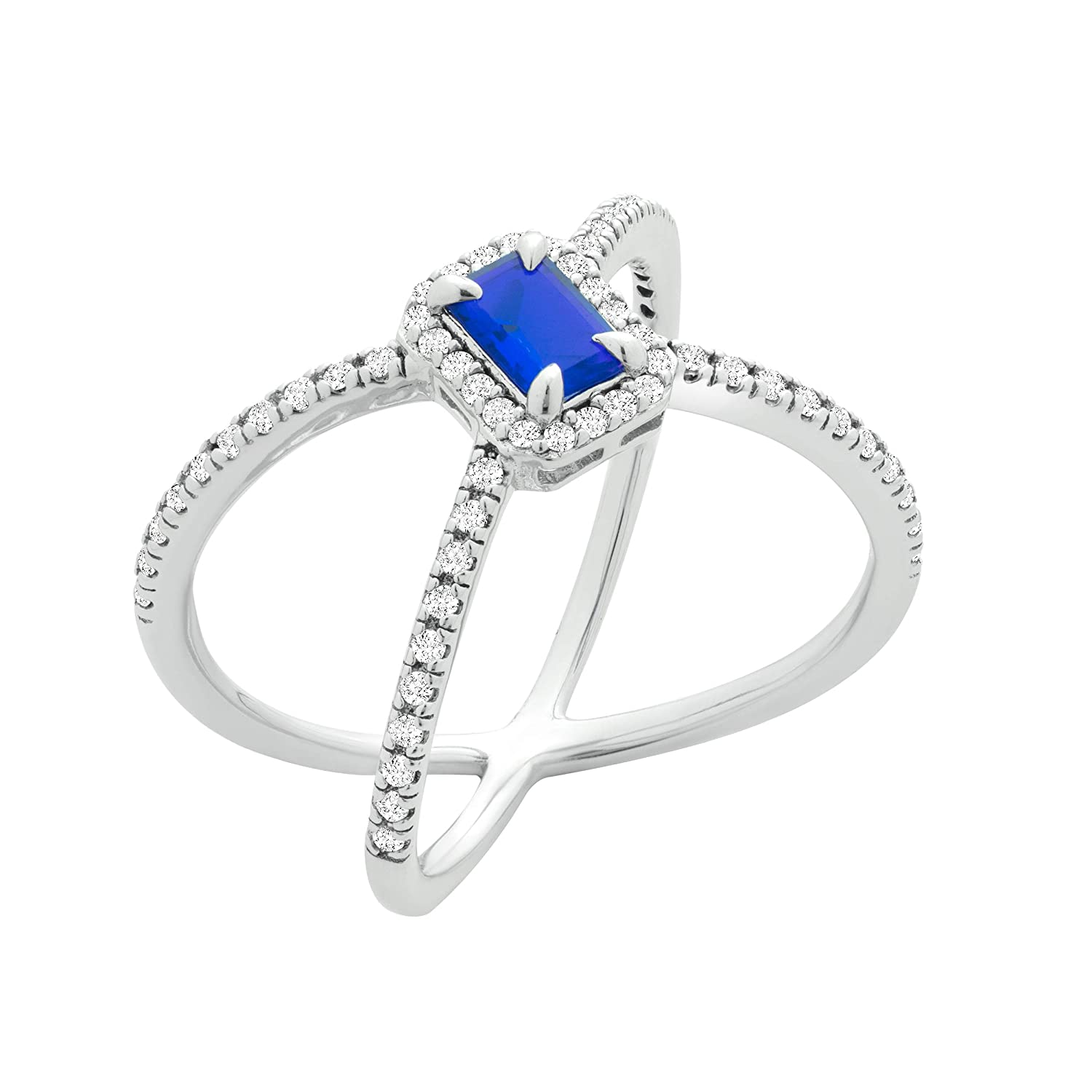 Chic Jewels RG2022-9 Sterling Silver Cubic Zirconia X Criss Cross Ring With Blue Emerald Cut Stone
