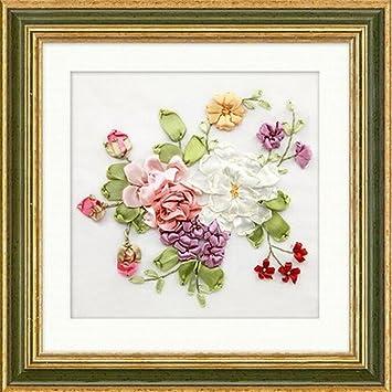 Amazoncom Aureate Handmade Silk Ribbon Embroidery Kits Canvas 3d