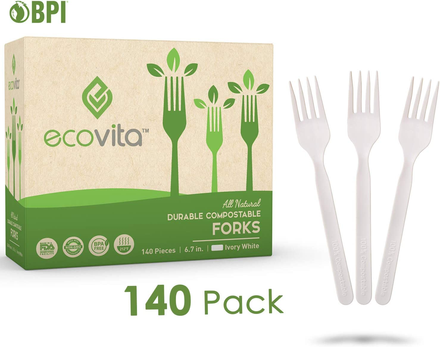 Compostables Biodegradable desechables cubiertos tenedor Set – 140 ...