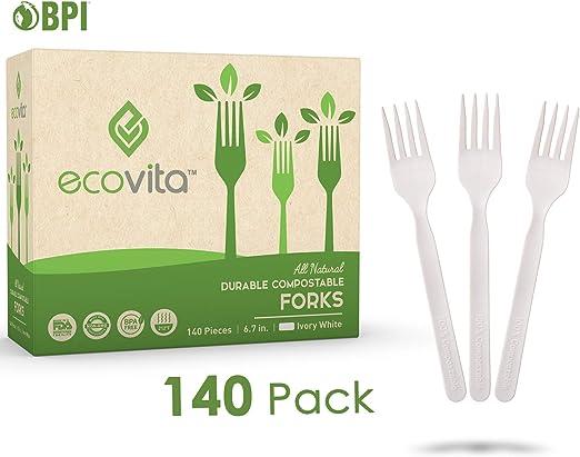 Compostables Biodegradable desechables cubiertos tenedor Set – 140 ...