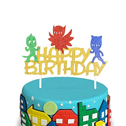 PJ Glitter Masks Inspired Happy Birthday Cake Topper Kids Party Supplies Double Sided Gold Decorations
