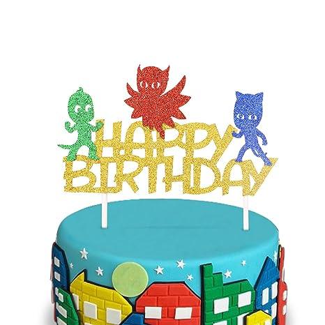 Amazon Com Pj Glitter Masks Inspired Happy Birthday Cake Topper