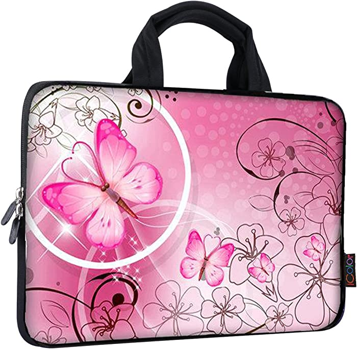 iColor 9.7 10 10.1 10.2 inch Neoprene Tablet Bag Carring Case Sleeve Cover with Handle for 9.7 to 10.2 Inch Laptops/Notebook/ebooks/Kids Tablet/Apple ipad Pink Butterfly ICB10-10