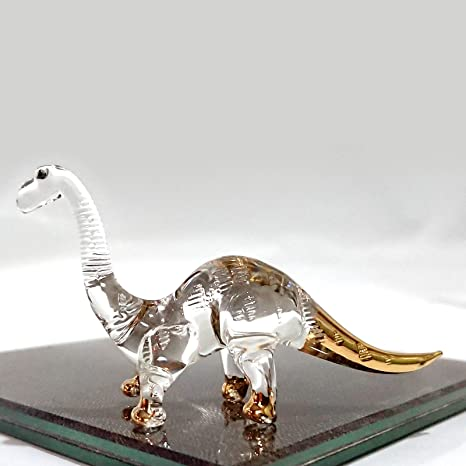 Tiny Crystal Dinosaur Hand Blown Clear Glass Art Stegosaurus Dino Figurine Animals Glass Blown 126