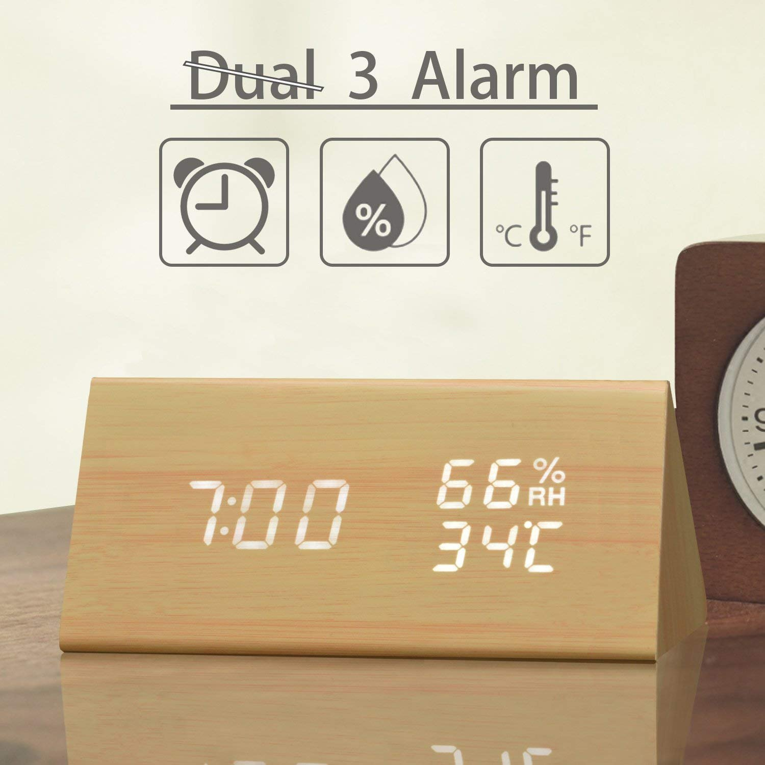 Digital Alarm Clock, with Wooden Electronic LED Time Display, 3 Alarm Settings, Humidity & Temperature Detect, Wood Made Electric Clocks for Bedroom, Bedside, Yellow by JALL (Image #1)