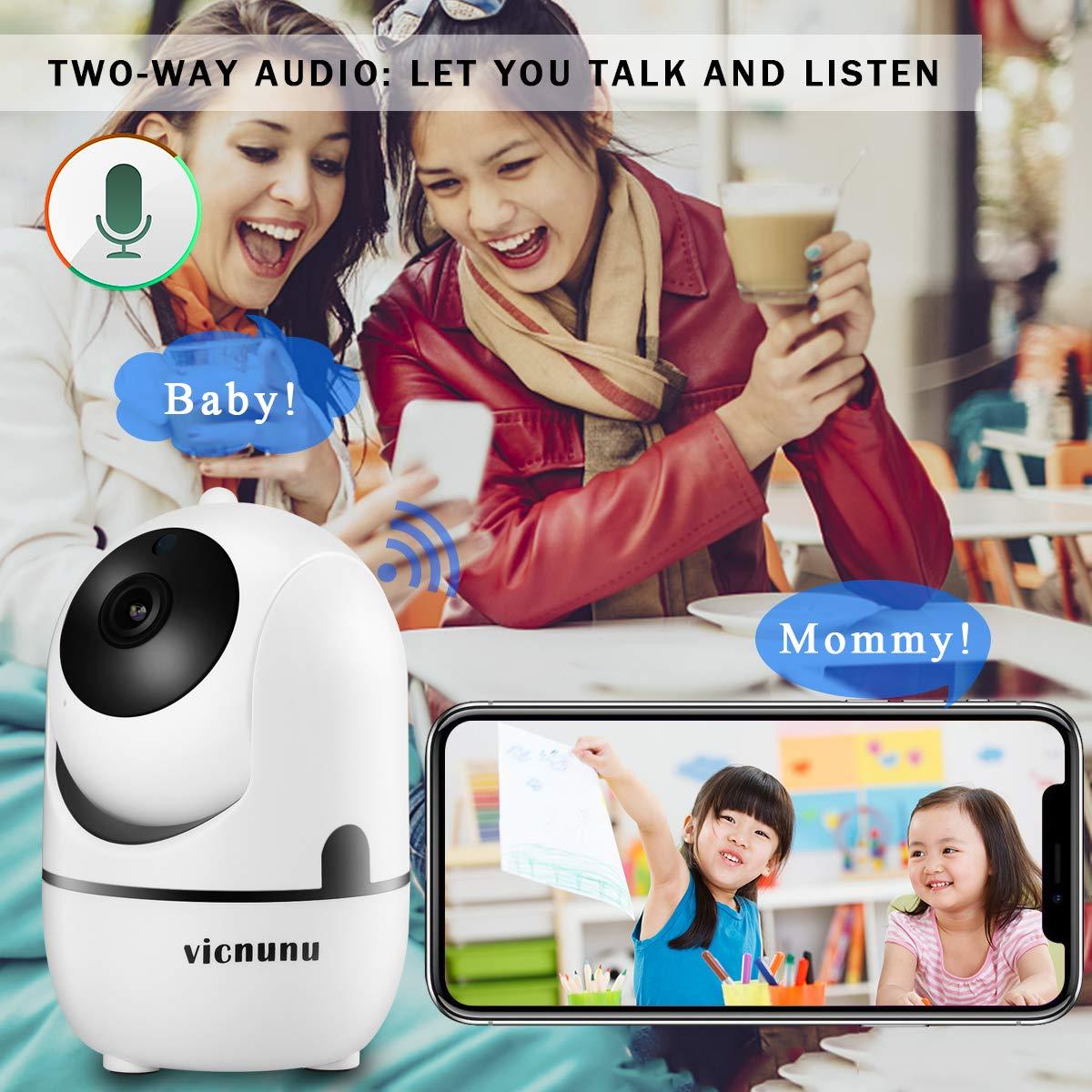 Dome Cam Pan/Tilt/Zoom Indoor Wireless IP Smart Home Camera Night Vision, Motion Tracking, Cloud Storage, 720p HD Video 2-Way Audio Vicnunu