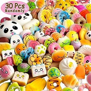 BUDI [Upgraded 30 Pcs Kawaii Squishies Super Slow Rising Jumbo/Medium/Mini Random Cake Bread Panda Bun with Phone Straps Kids Pretend Play Squishies Charms