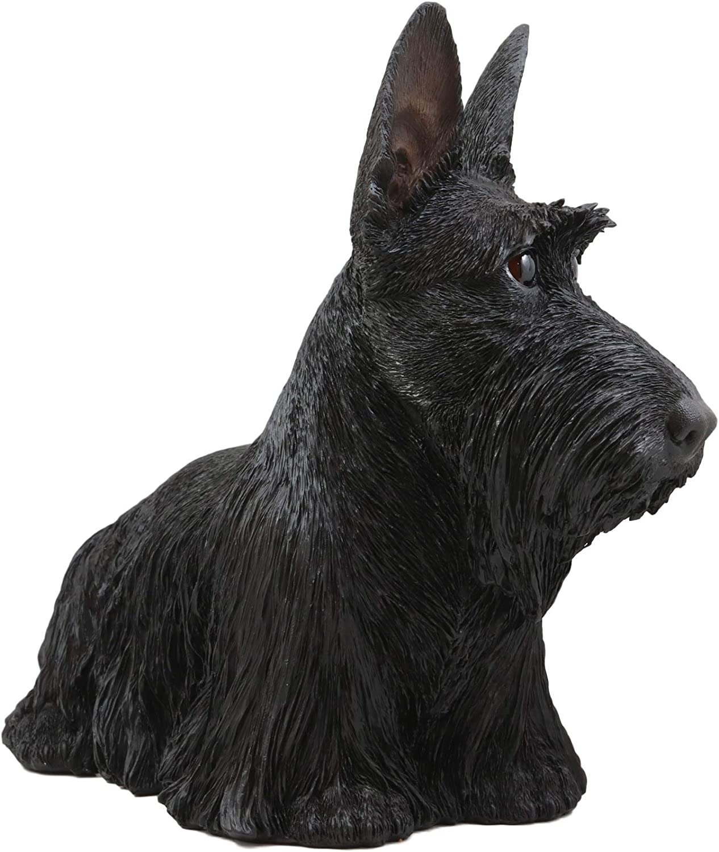 "EBROS Black Longhaired Scottish Highlands Terrier Statue Scottie Decor 14.25/""L"