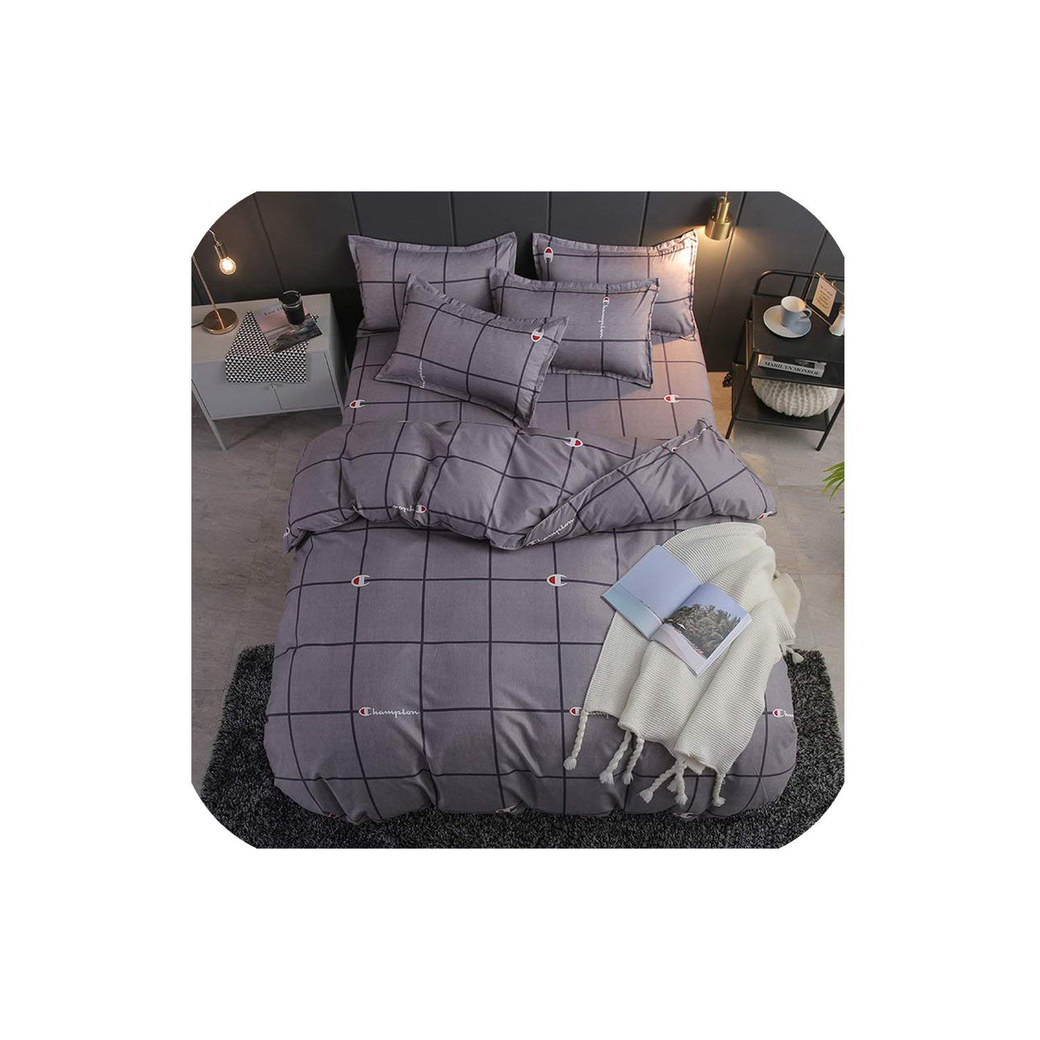 LOVE-JING Green Lemon Winter Bedding Sets Full King Twin Queen King Size 4Pcs Bed Sheet Duvet Cover Set Pillowcase Without Comforter,B19,Full Cover 150By200,Flat Bed Sheet