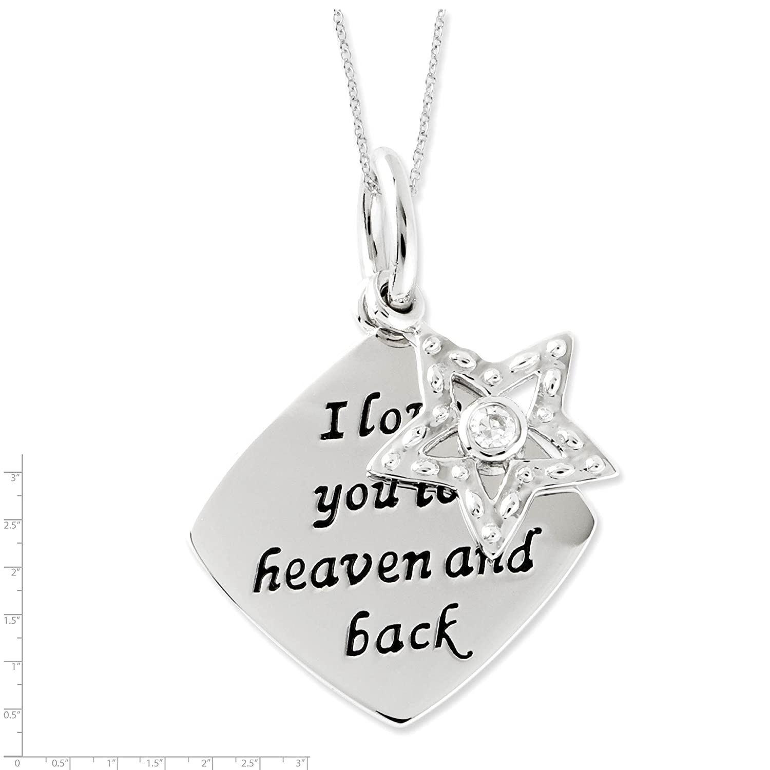 925 Sterling Silver CZ I Love You To Heaven /& Back Star Pendant Necklace 18 by Sentimental Expressions