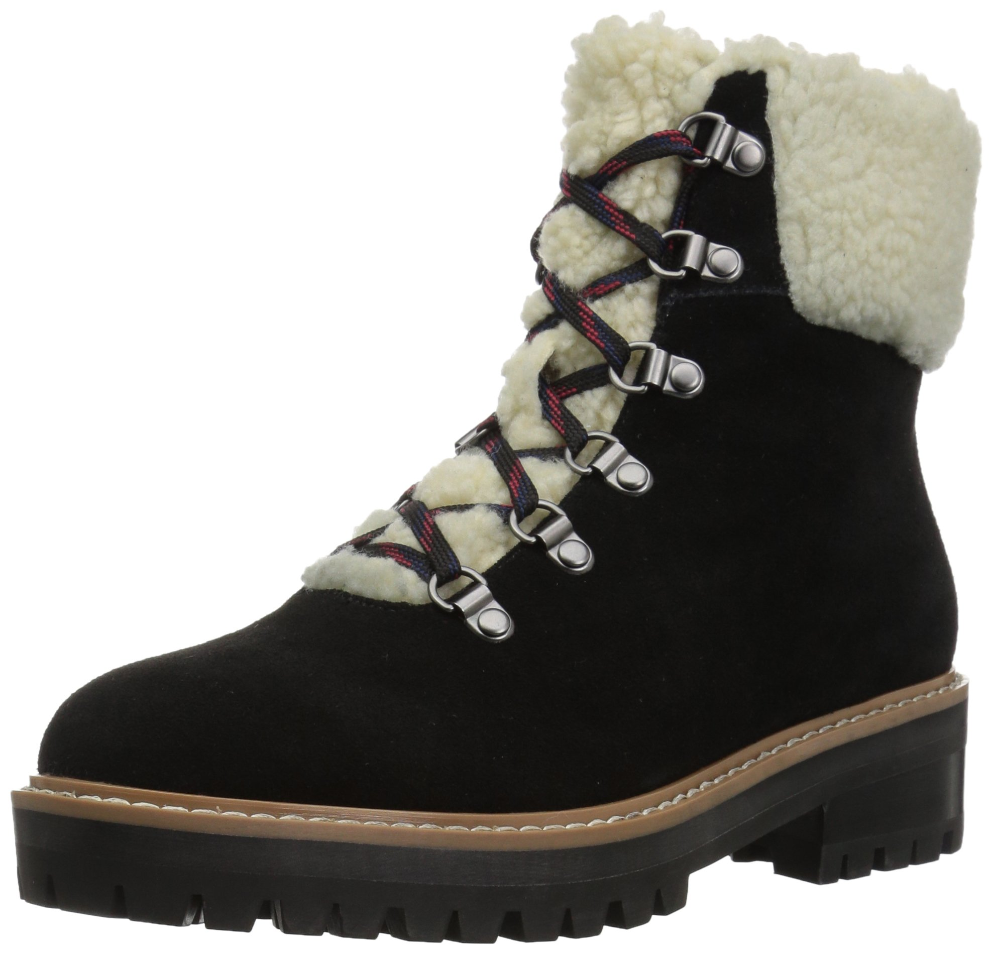 The Fix Women's Mika Hiker Boot With Faux Shearling Trim, Black, 6.5 B US