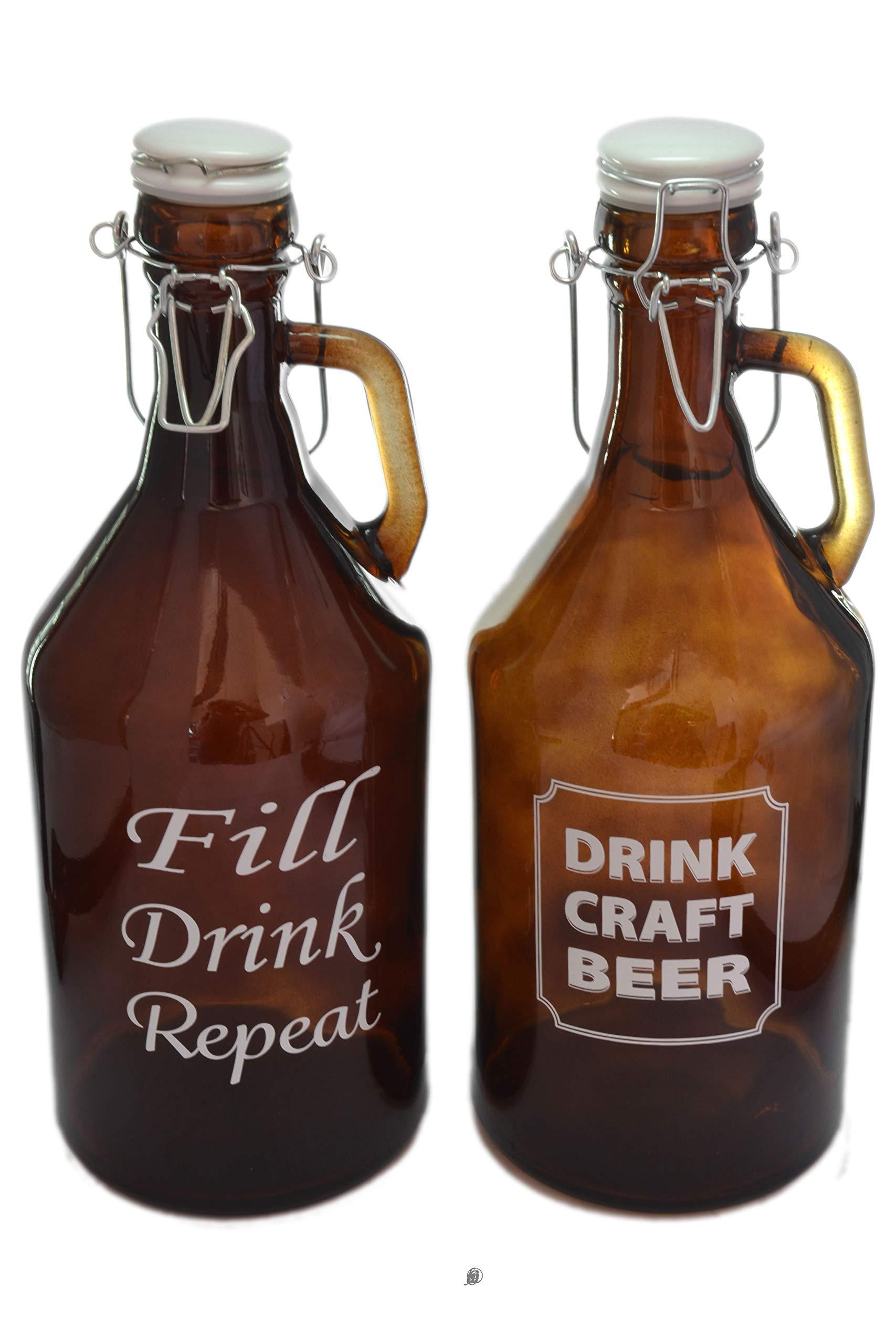 Set 2 Large 65oz/2L Brown Glass Beer Growlers Jar Bottles Jugs with Hermetic Lids
