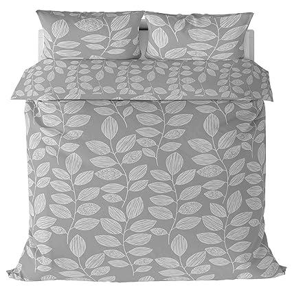 It Ideal Textiles Grey Leaf Print Duvet Cover Silver Ashley