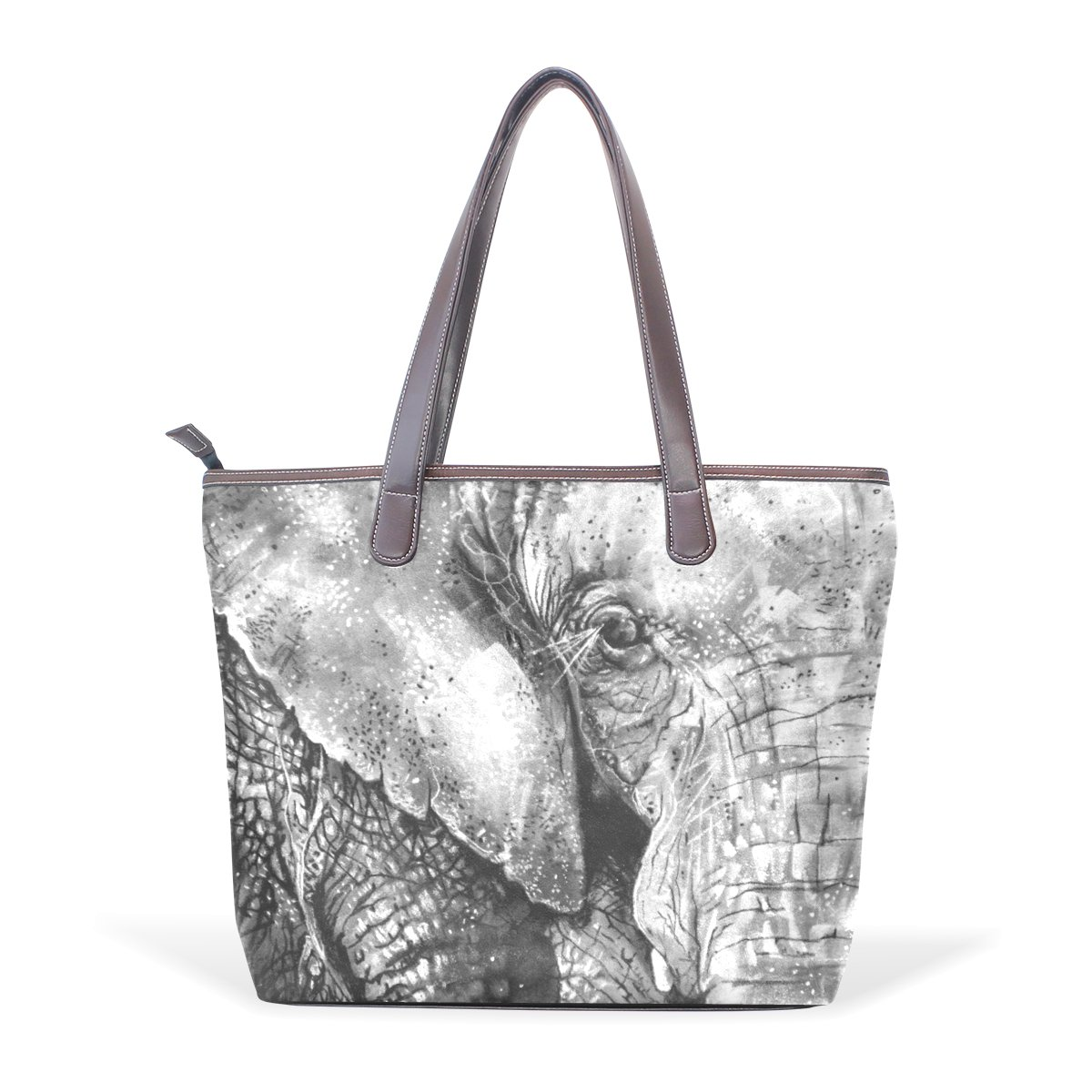Ye Store Sumatran Elephant Lady PU Leather Handbag Tote Bag Shoulder Bag Shopping Bag