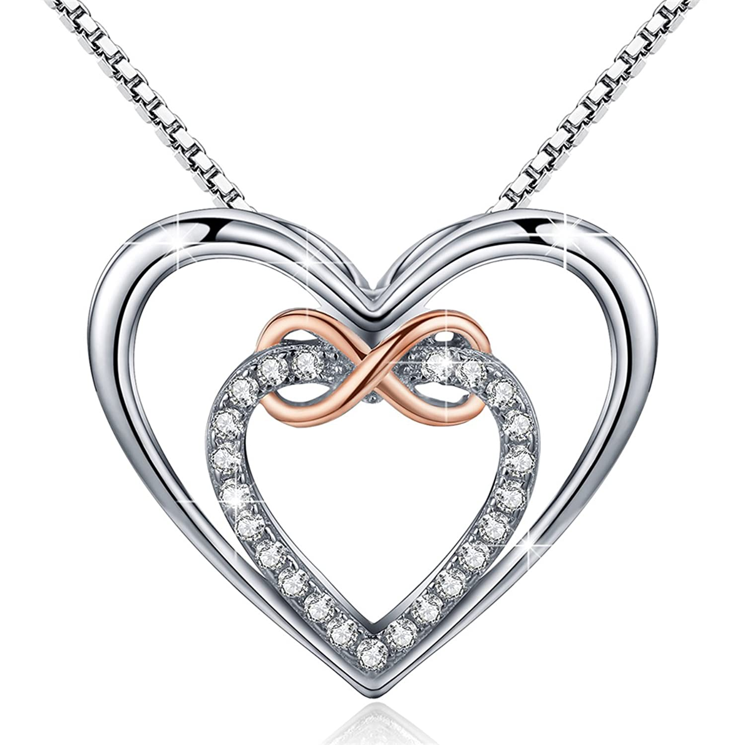 Bamoer Double Heart Necklace 925 Sterling Silver Pendant Infinity