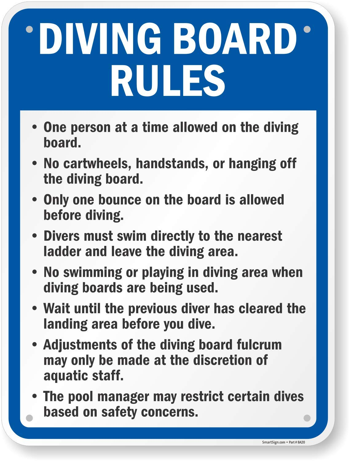 SmartSign ''Diving Board Rules'' Sign | 18'' x 24'' Aluminum by SmartSign
