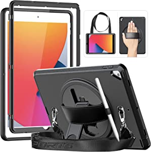 HXCASEAC iPad 10.2 Case, iPad 8th/7th Generation Case, iPad Air 3/Pro 10.5 Case, Full Body Shockproof Case with Screen Protector [360° Rotating Stand/Hand Strap] Shoulder Strap [Pencil Holder], Black