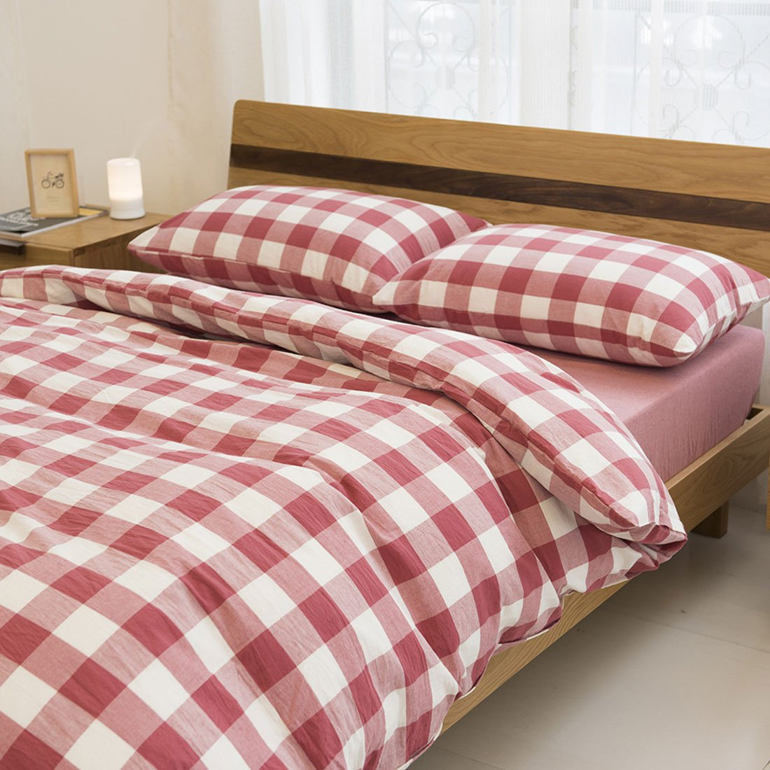 Libaoge 4 Piece Bed Sheets Set, Red White Grid Plaid Checkered Pattern, 1 Flat Sheet 1 Duvet Cover and 2 Pillow Cases