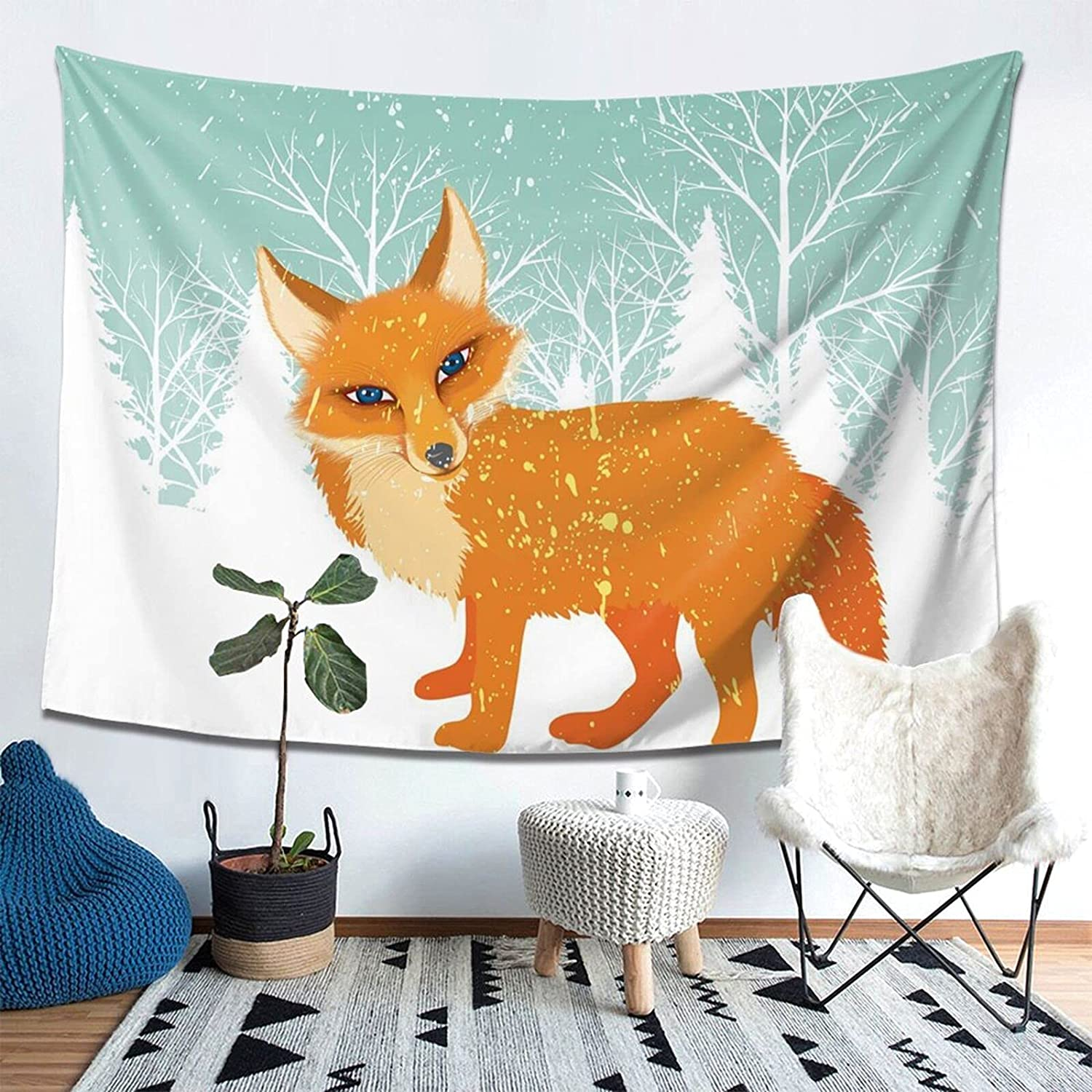 Fox In Winter Print Tapestry,Wall Hanging Tapestries Wall Home Decor For Bedroom Dorm Room (80 X 60 Inches)