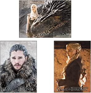 Game of Thrones Licensed Refrigerator Locker Three Magnet Bundle, Queen Daenerys Targaryen with Dragon Drogon, Jon Snow, and Dany