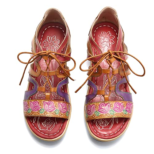0b57757e6dd0 gracosy Women Walking Sandals Summer Leather Flat Open Toe Sandals Go Walk  Shoes Sports Trekking Hiking Anti Slip Sandals Ladies Cushion Foam Beach  Shoes ...