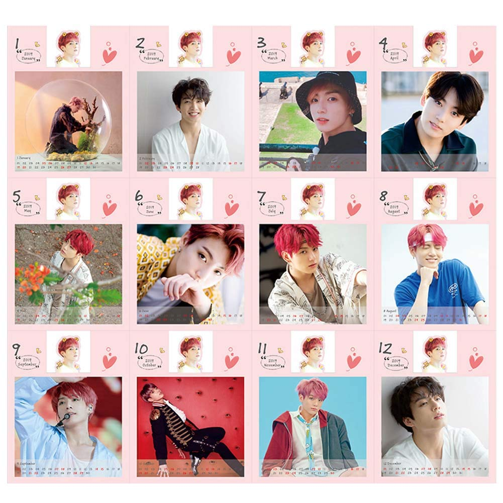 Yovvin BTS Desk Calendar 2019 to 2020 KPOP Bangtan Boys Jungkook