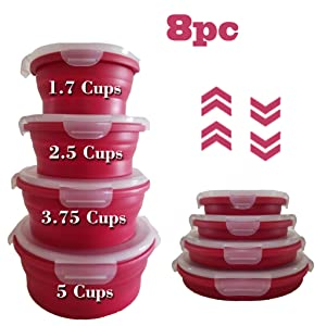 Natural's House 8pcs Collapsible Containers Round Silicone Food Storage - Containers BPA Free - Microwave Dishwasher | Freezer Safe Kitchen Storage Containers With Air Vent Collapsible Tiffin for kids