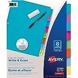 Avery Write & Erase Big Tab Binder Dividers, 8 Tabs, 1 Set, Bright Multi-Colour (23181)