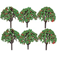 Asian Hobby Crafts Colorful Plastic Mini Artificial Craft Garden Decoration Trees, Green/Red (6 Pieces, 2.5-inch)