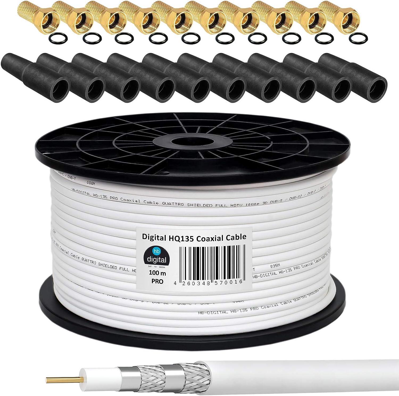 130 db 100 m cable coaxial HQ-135 PRO 4-capas + 10 F-connettore dorado + 10 goma protector para la lluvia para DVB-S/S2 DVB-C y instalaciones DVB-T BK ...