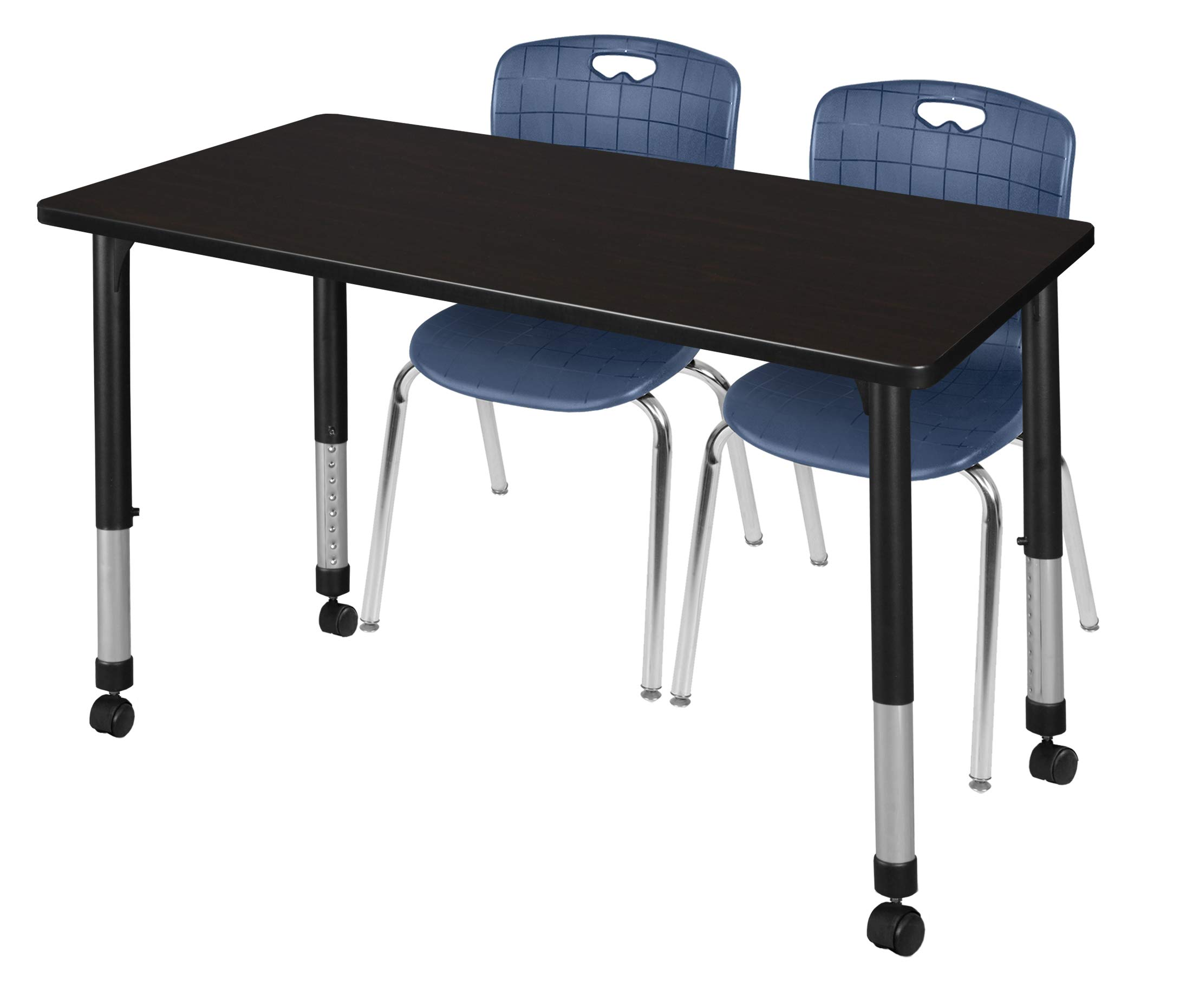 Regency MT4830MWAPCBK40NV Kee Height Adjustable Mobile Classroom Table Set with Two 18'' Andy Chairs 48'' x 30'' Mocha Walnut/Navy Blue