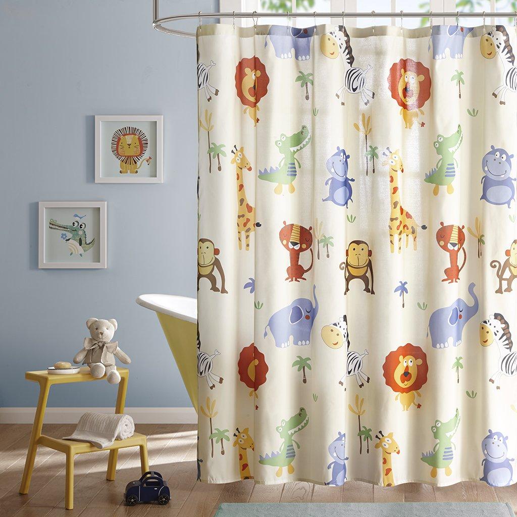 Safari Sam Kids Shower Curtain, Print Animal Shower Curtains for Bathroom, 72 X 72, Multi Color