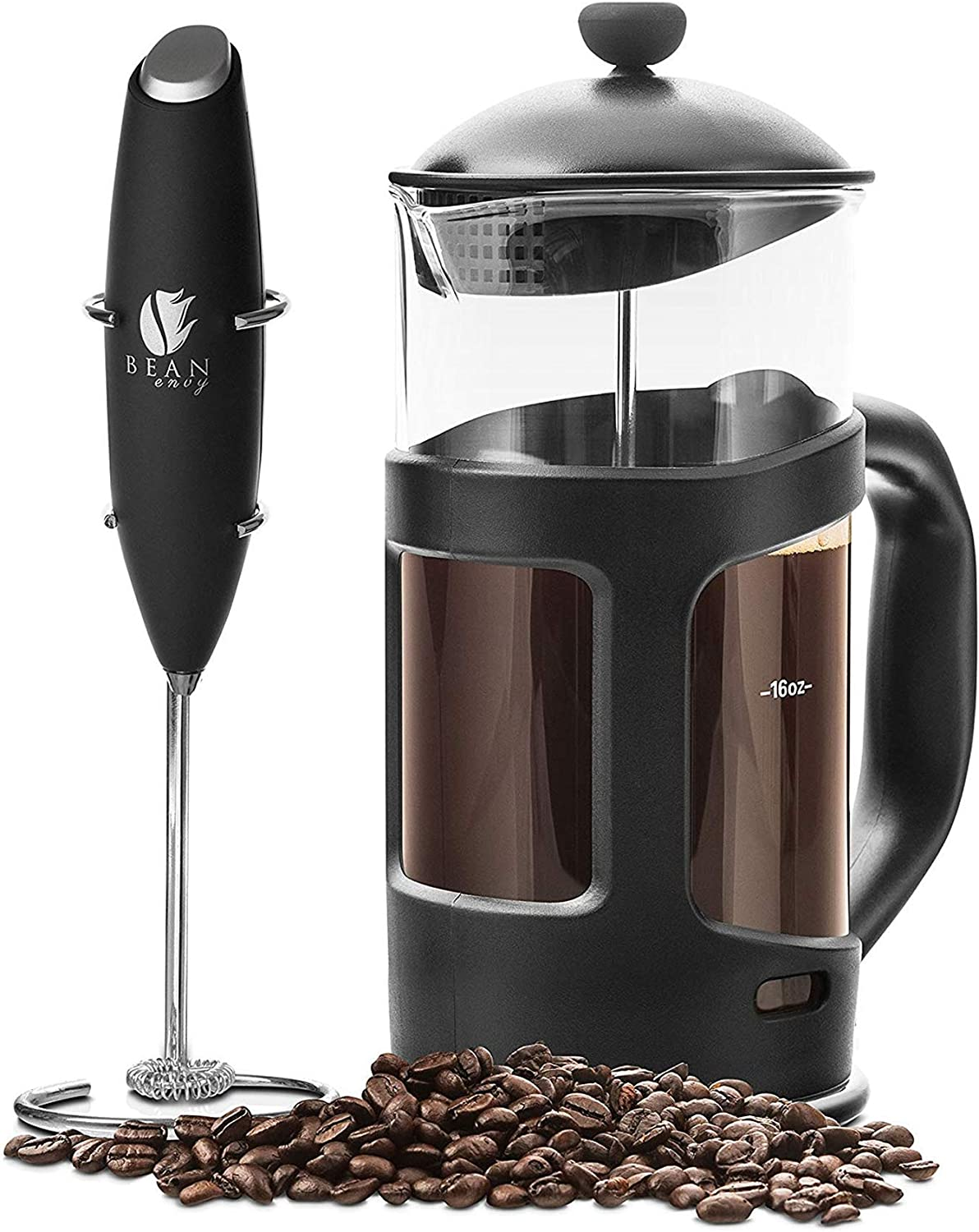 Professional Grade 34 oz French Press Coffee Maker & Premium Milk Frother With Stainless Steel Stand - Save Time & Money With Homemade Lattes! Spice ...