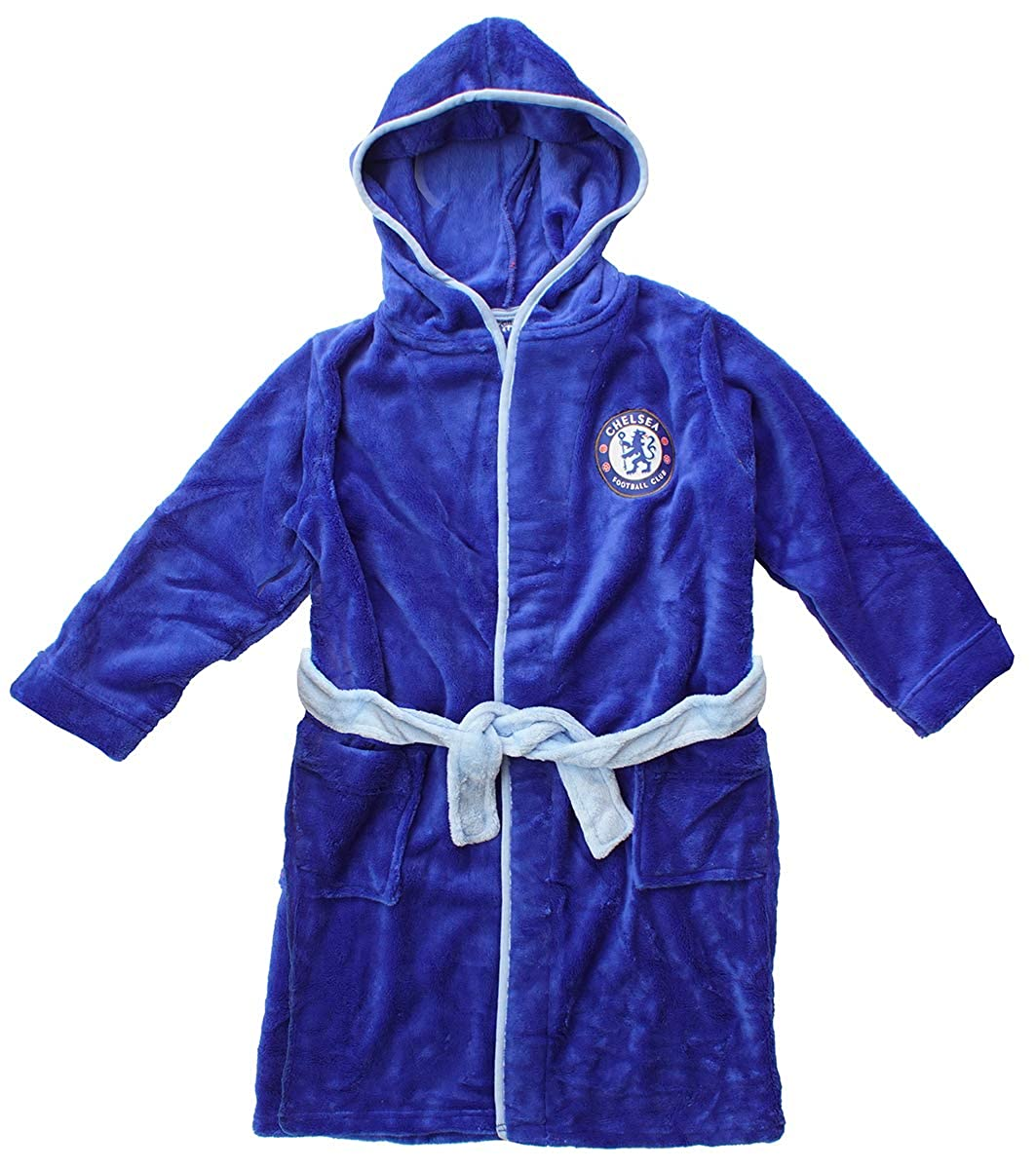 Boys Official Chelsea CFC Hooded Fleece Dressing Gown Bathrobe Sizes from 3 to 12 Years