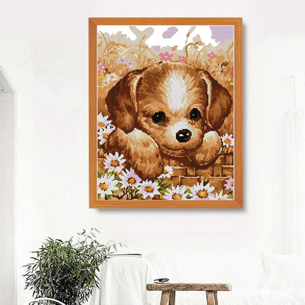 Embroidery Needlepoint Starter Kits Cute Puppy dailymall Dog Cross Stitch Stamped Kits Quilt Pre-Printed Cross-Stitching Patterns for Beginner Kids Adults 39x48cm 11CT