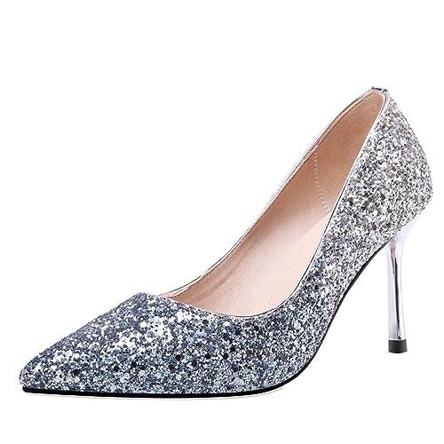 58339ac4b13401 AIYOUMEI Damen Brautschuhe Stiletto High Heels Pumps Glitzer Abendschuhe  Hochzeit Schuhe  Amazon.de  Schuhe   Handtaschen
