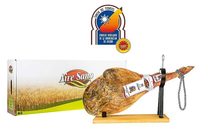 Jamón de Teruel DOP Gran Premier de Aire Sano (7,5-9,5Kg) + jamonero + cuchillo + chaira + estuche