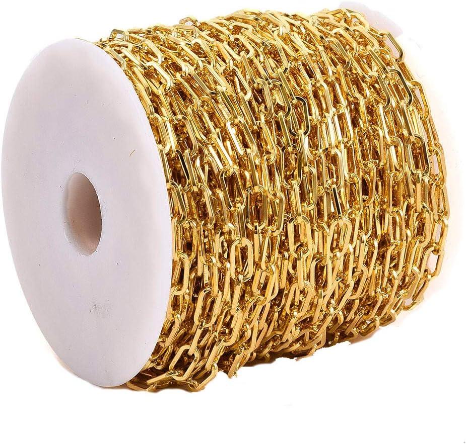 bracciali con catenina ovale piatta non saldata per gioielli 10 x 5 mm catena a clip in ferro da 25 m collane Cheriswely