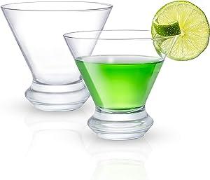 JoyJolt Cosmos Collection Martini Glasses – Set of 2 Crystal Martini Glasses – 8.5 oz Stemless Martini Glasses – Modern Cocktail Glass – Manhattan Glass with Heavy Base Premium Stemless Martini Glass