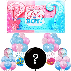 Gender Reveal Decorations Set - 36 Inch, Gender Reveal Question Mark Balloon | XtraLarge, 72x40 Inch, Gender Reveal Backdrop Boy or Girl | Pink and Blue Balloons for Baby Gender Reveal Party Supplies
